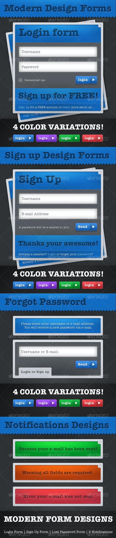 Modern Login & Sign Up Website Design Forms - Forms Web Elements