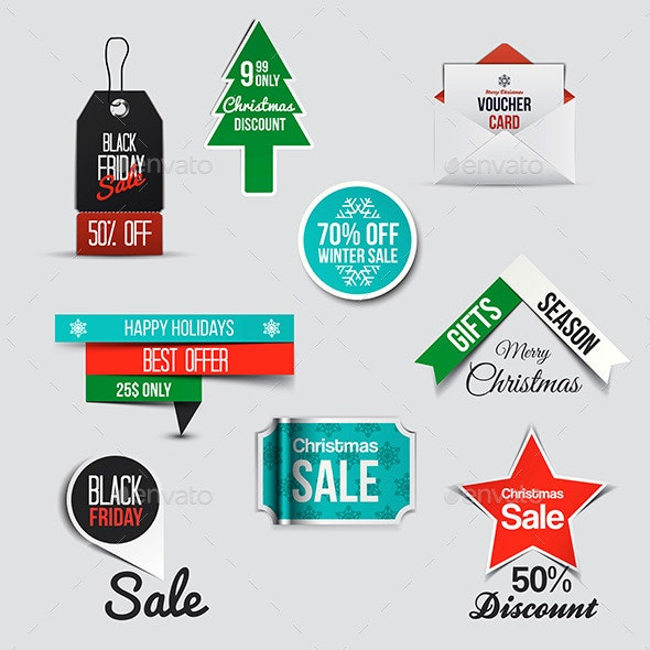 Collection of Sale Discount Styled Banners - Retail Commercial / Shopping