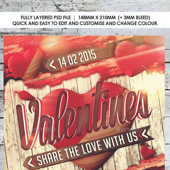 Retro Shabby Chic Valentines Day Flyer
