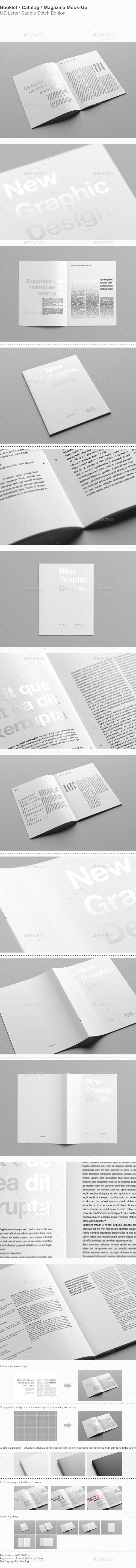 US Letter Portrait Catalog / Magazine Mock-Up - Magazines Print