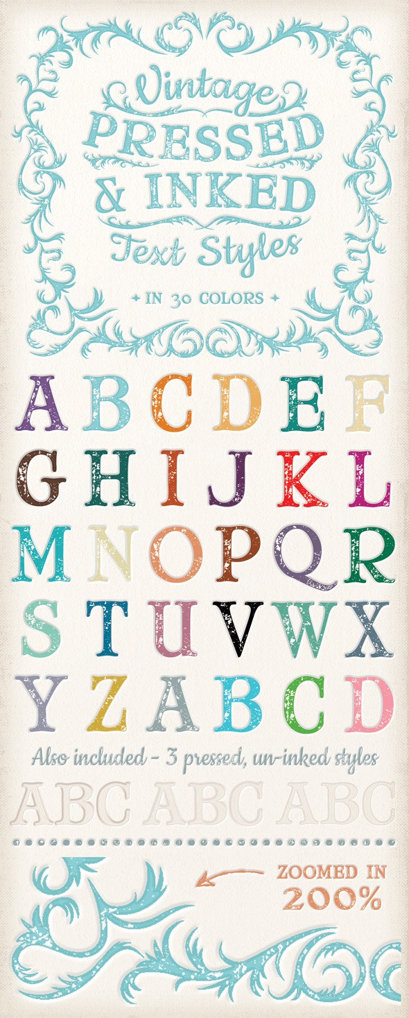 Vintage Pressed & Inked Text Styles - Styles Photoshop
