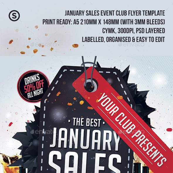 January Sales / Sale Event Club Flyer
