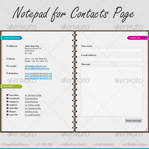 Notepad for Contacts Page
