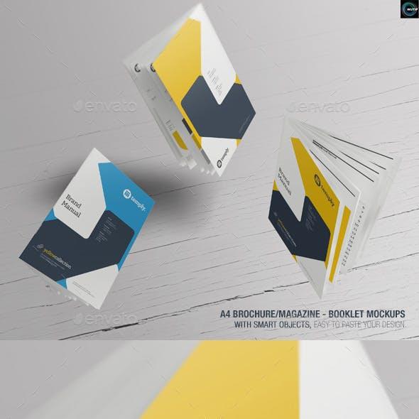 A4 Brochure/ Magazine-Booklet Mockups