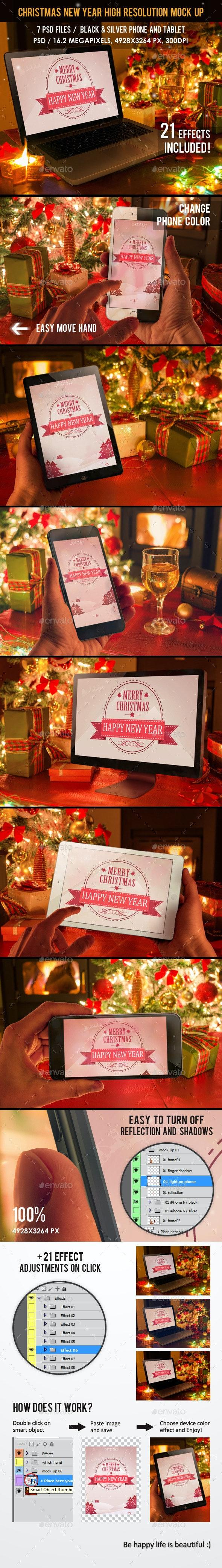 Christmas New Year Mock Up - Displays Product Mock-Ups
