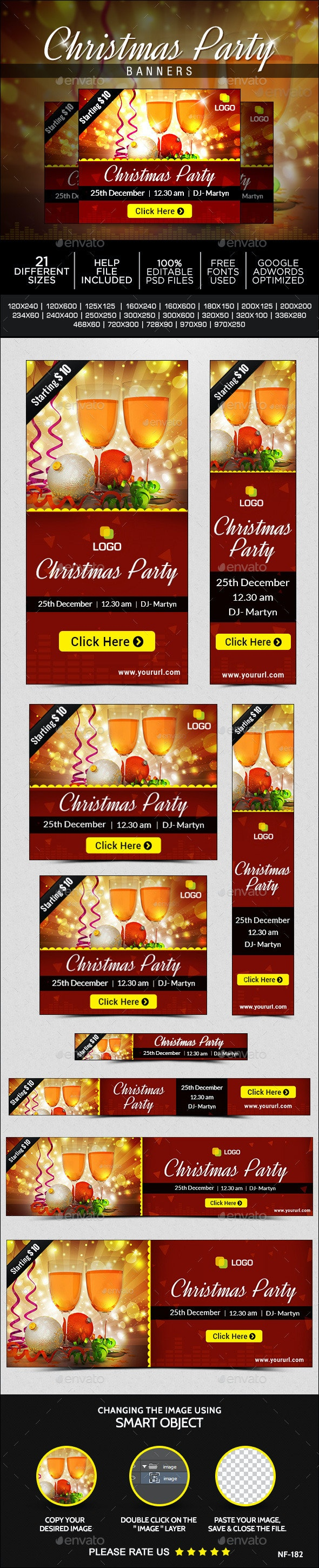 Christmas  Party Banners - Banners & Ads Web Elements