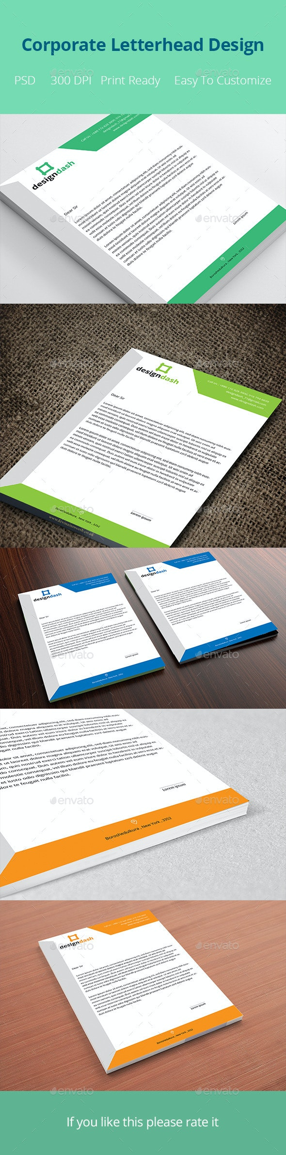 Corporate Letterhead Design Template - Stationery Print Templates