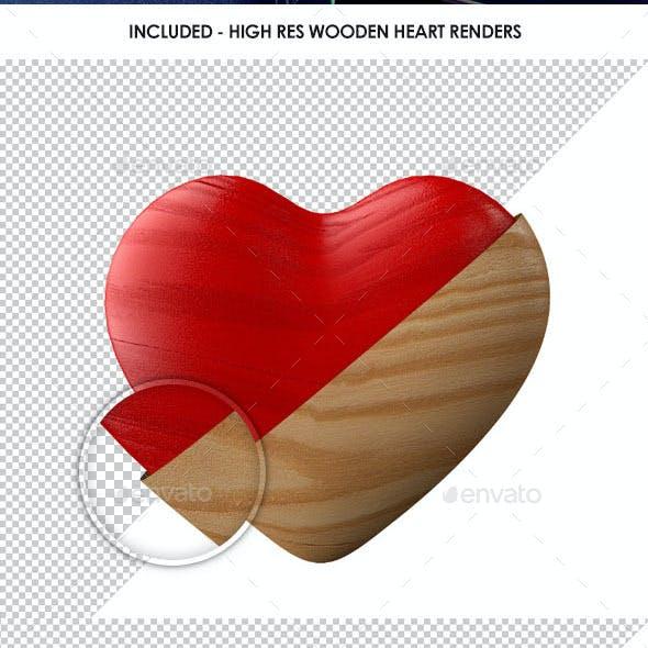 Retro Shabby Chic Wooden Heart Renders