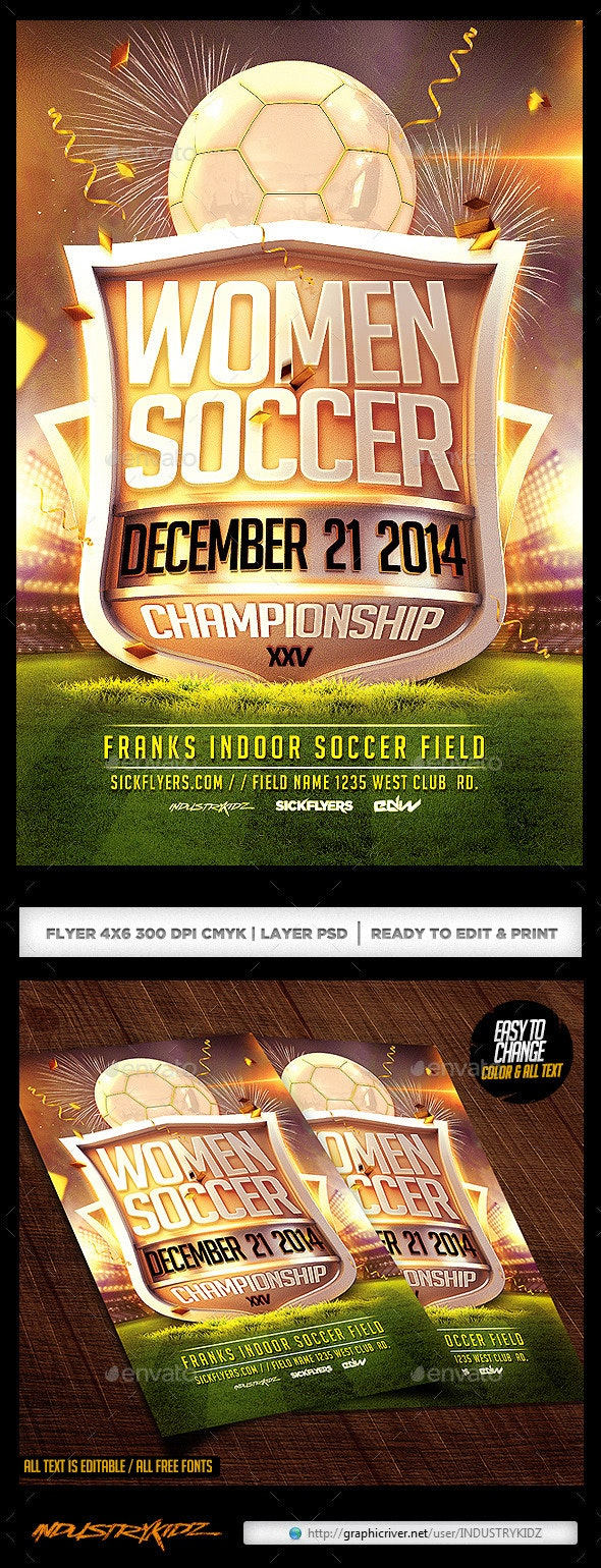 Women Soccer Flyer Template  - Sports Events