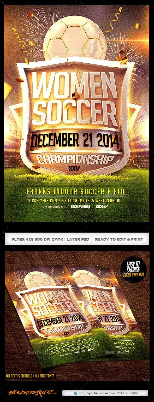 Women Soccer Flyer Template  - Sports Events