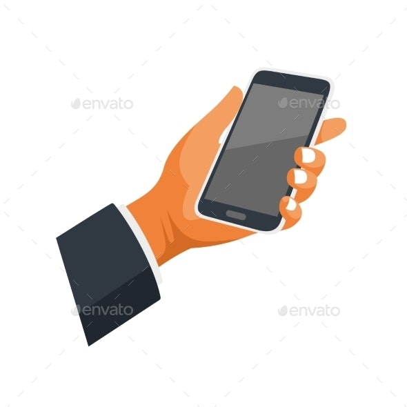 Mobile Phone in Hand Icon - Computers Technology