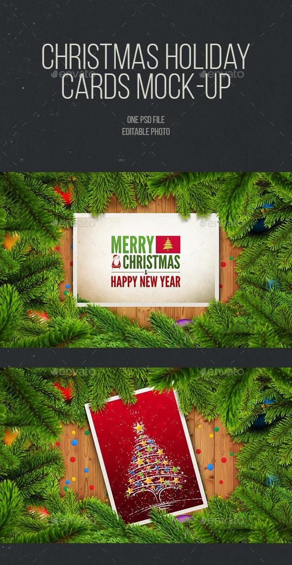 Christmas Holiday Cards - Print Product Mock-Ups