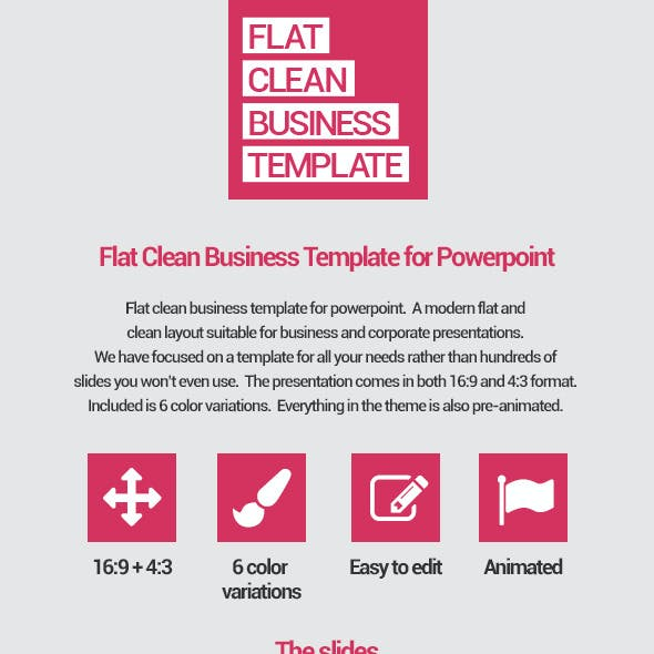 Flat Clean Business Template for Powerpoint