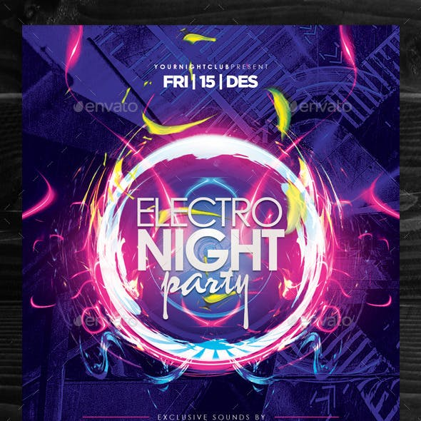 Electro Night Party Flyer Template Vol. 2