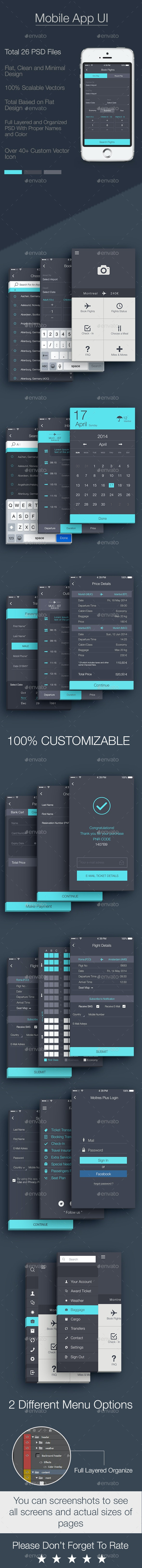 Airlines Mobile App UI - User Interfaces Web Elements