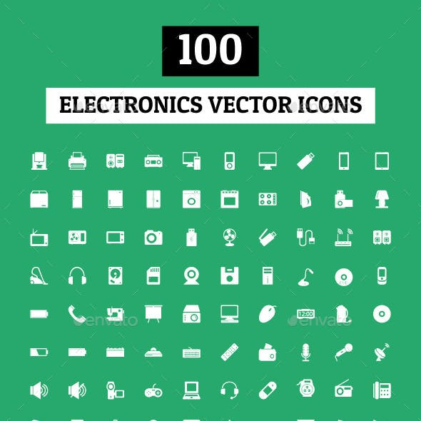 100 Electronics Vector Icons