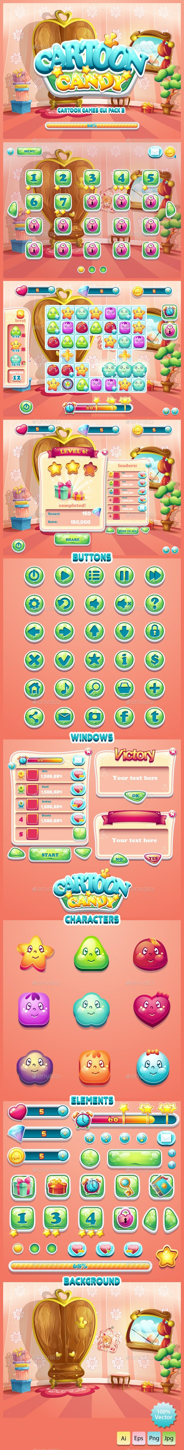 GUI Cartoon Candy - User Interfaces Game Assets