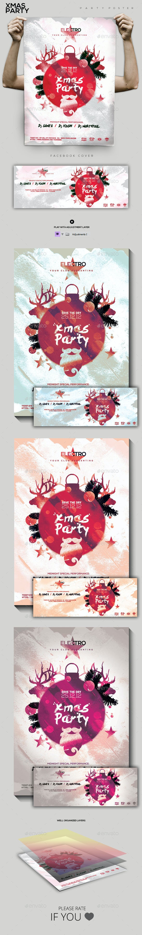 Xmas Night Party Flyer/Poster - Holidays Events