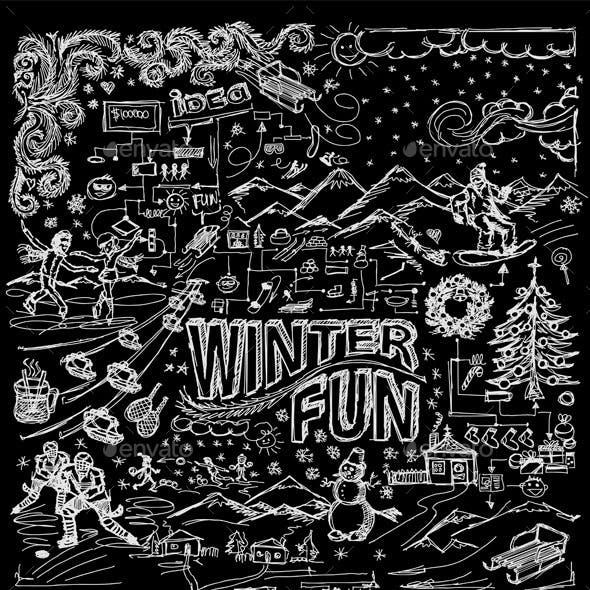 Winter Fun Sketch Background