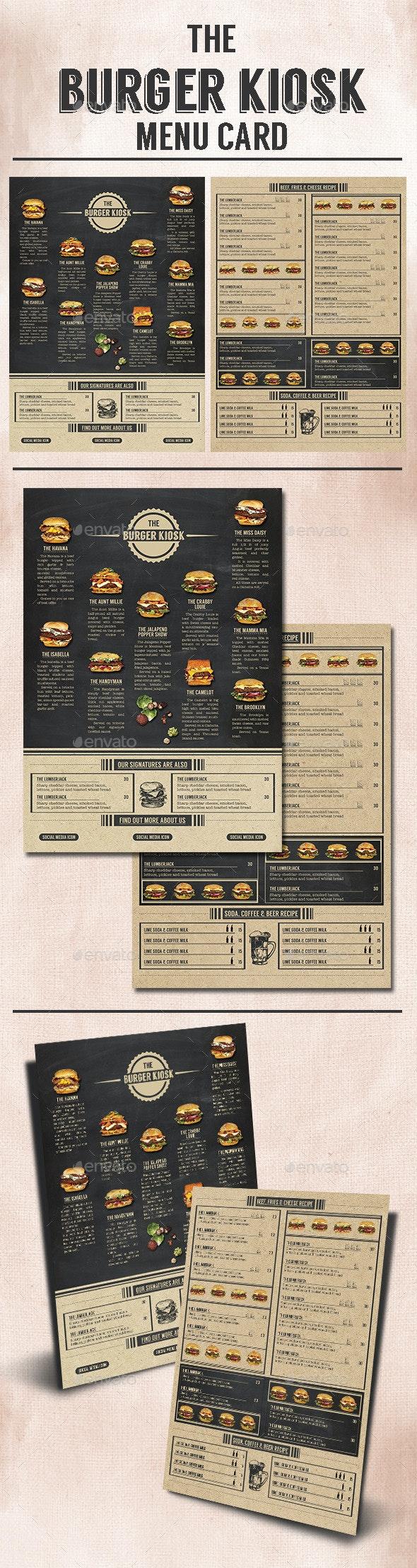 The Burger Kiosk Menu - Food Menus Print Templates