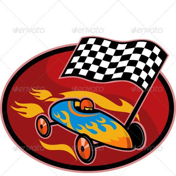 Soap Box Derby Car Racing Checkered Flag