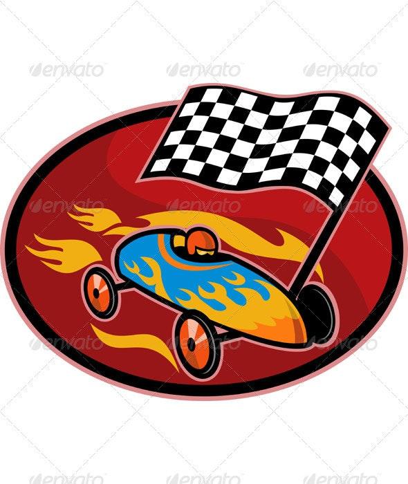 Soap Box Derby Car Racing Checkered Flag - Sports/Activity Conceptual