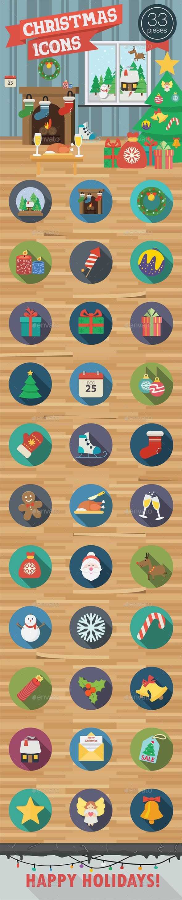 Christmas Icons in Flat Style