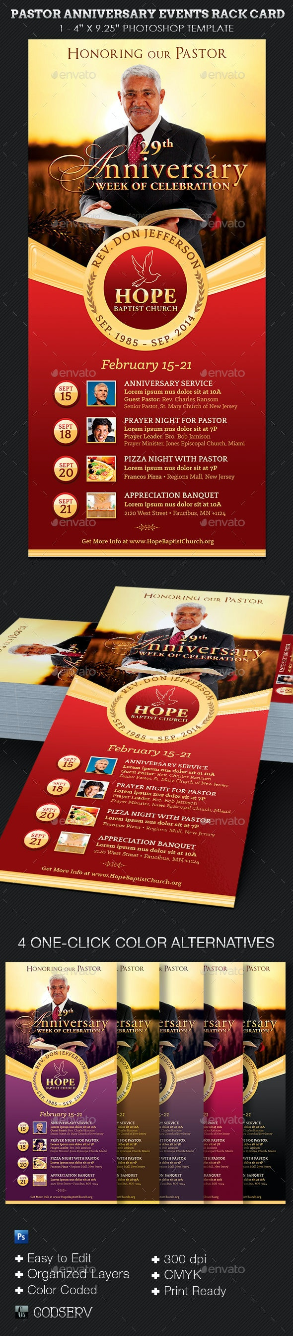 Pastor Anniversary Events Rack Card Template - Church Flyers