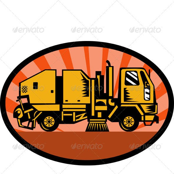 Street Cleaner Sweeper Truck Side View Retro