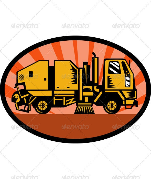 Street Cleaner Sweeper Truck Side View Retro  - Objects Vectors