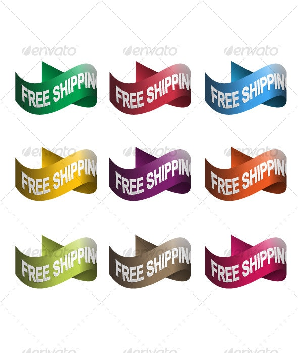 Free Shipping Vector Ribbons - Web Elements
