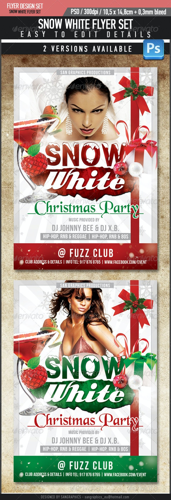 Snow White Flyer Template - Clubs & Parties Events