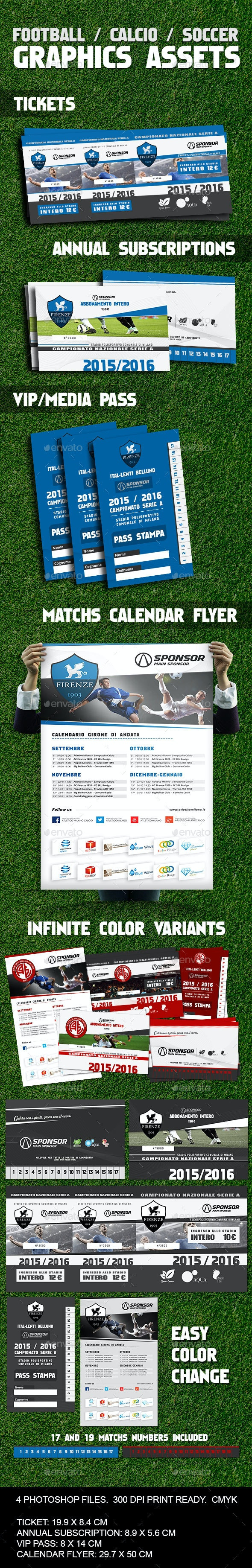 Soccer / Calcio / Football Image Assets - Miscellaneous Print Templates