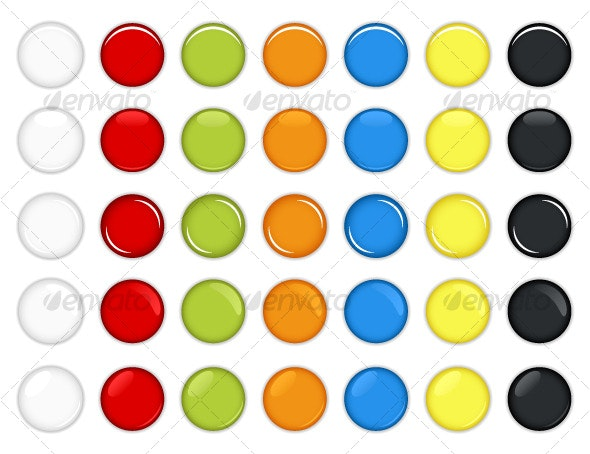 Colorful Glossy Round Web Buttons Vector - Web Elements
