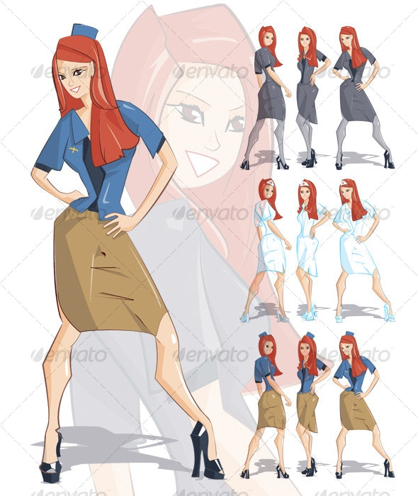 Flirty business woman, nurse, flight attendant - People Characters