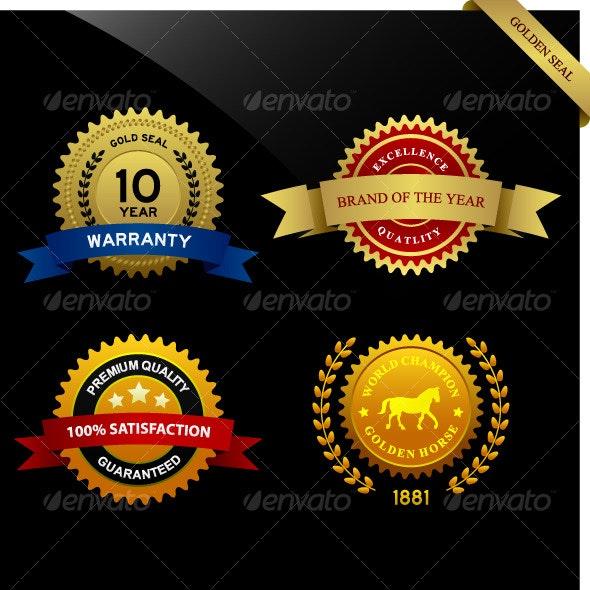 Warranty Guarantee Gold Seal Ribbon Vintage Award - Decorative Symbols Decorative