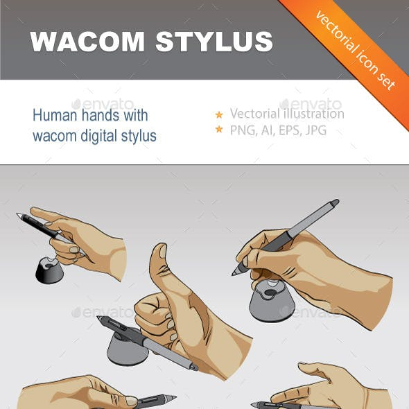 Human Hands with Digital Stylus