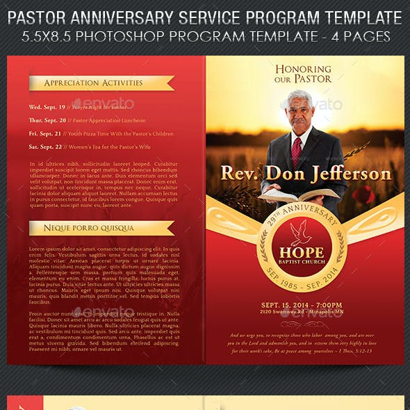 Pastor Anniversary Service Program Template