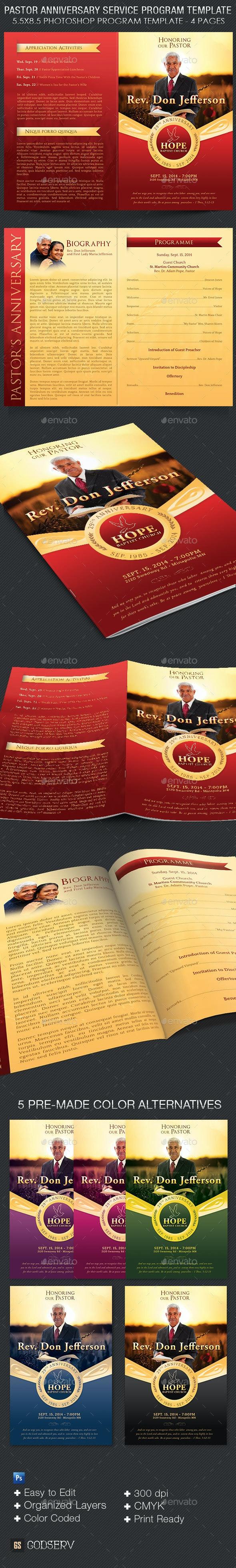 Pastor Anniversary Service Program Template - Informational Brochures