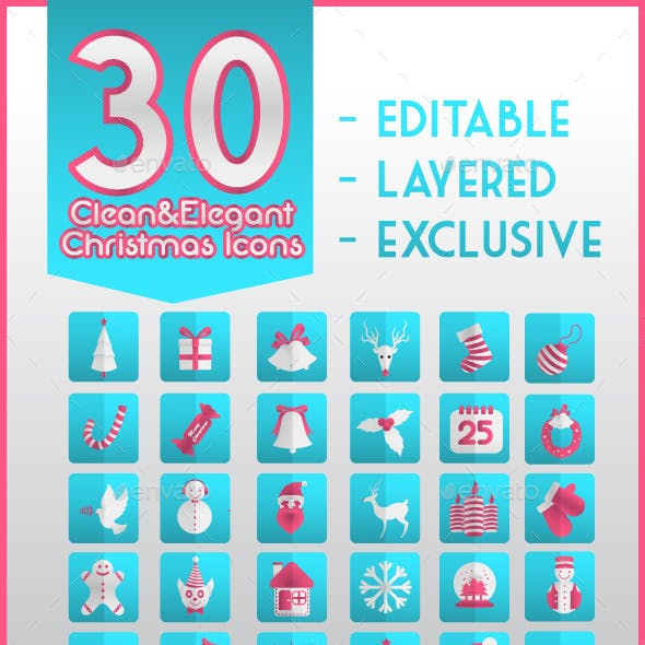 Clean & Elegant 30 Christmas Icons