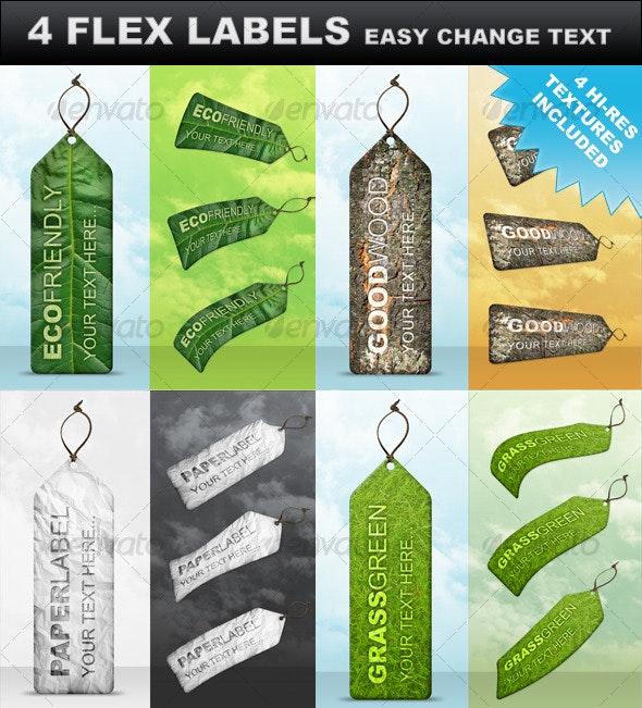 4 Premium Flex Labels - Miscellaneous Web Elements