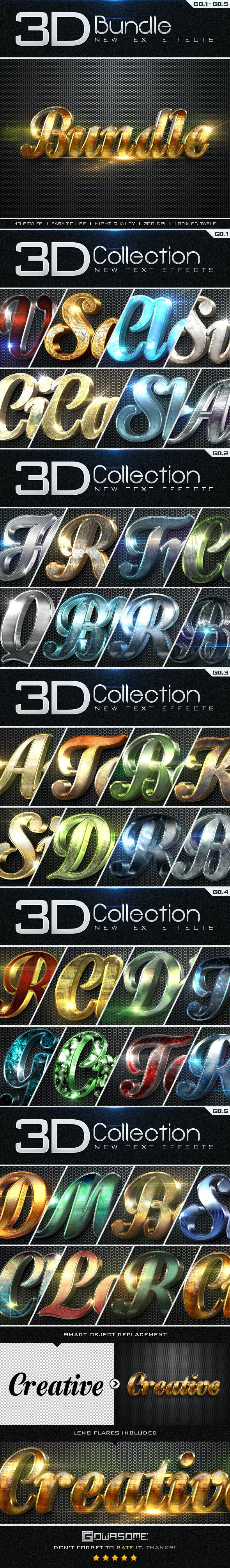 New 3D Collection Text Effects Bundle - Text Effects Styles
