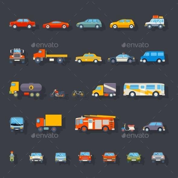 Retro Car Line Icons