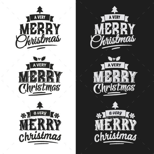 Christmas Typographic Design Emblem Set