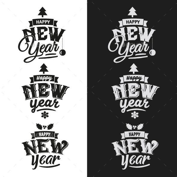 3 New Year Typographic Design Emblem Set
