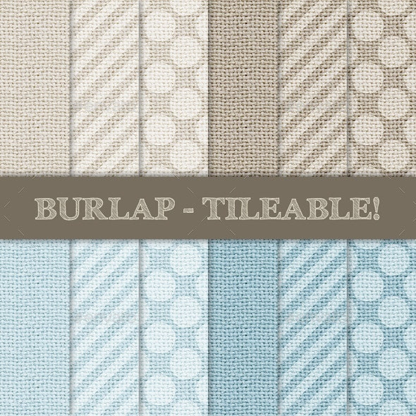 Burlap with Stripes and Polka Dots - Patterns Backgrounds