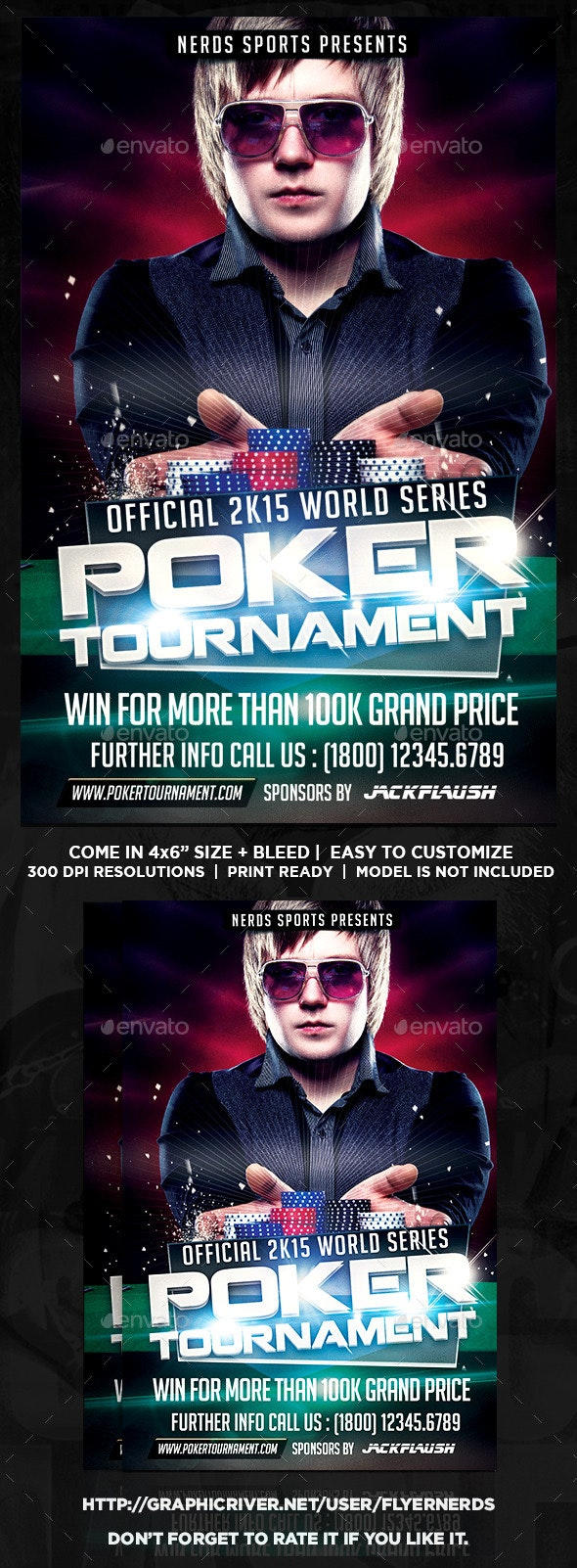 Poker 2K15 Tournament Sports Flyer - Sports Events