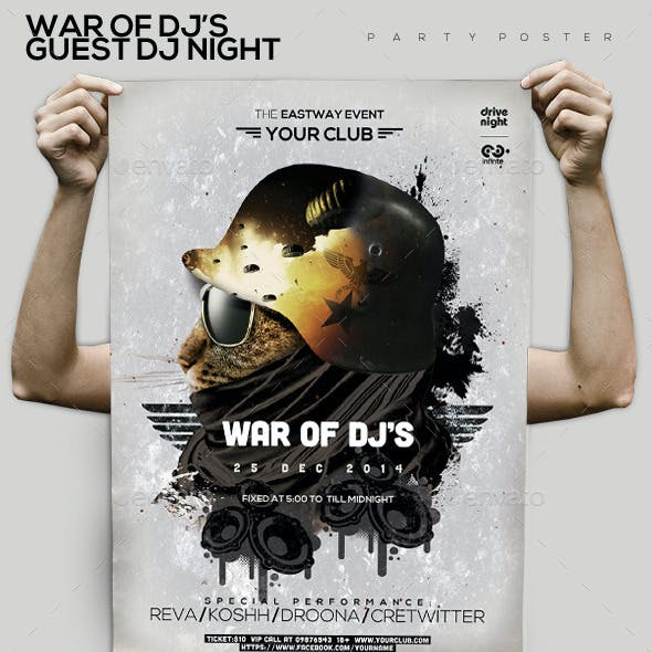 War Of Guest Dj's Party Flyer/Poster