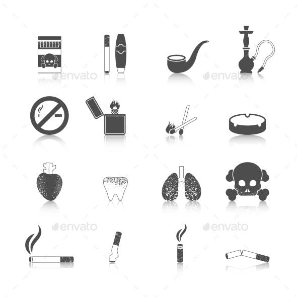 Smoking Icon Black Set