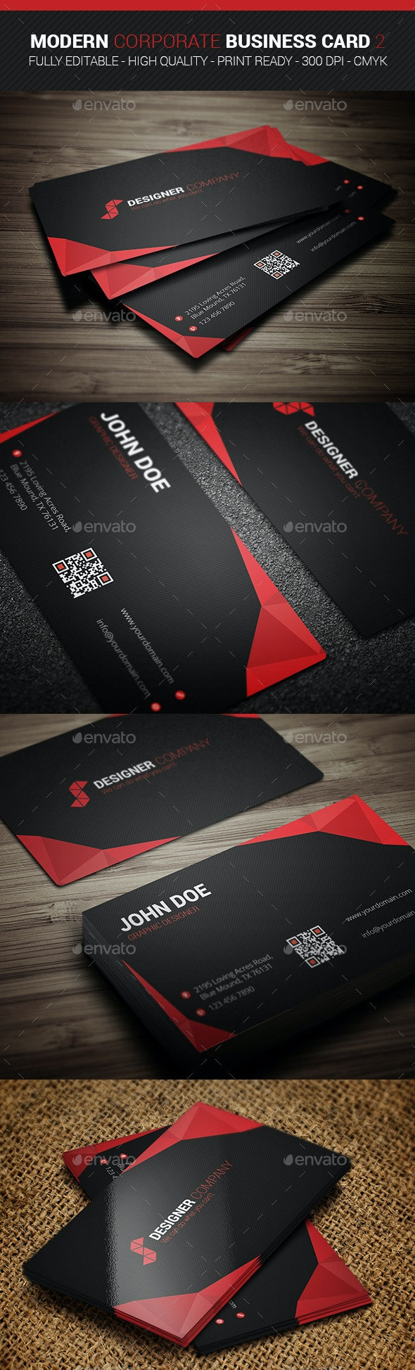Modern Corporate Business Card 2 - Business Cards Print Templates